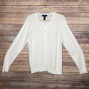EUC Karen Scott Button Cardigan White Sweater L